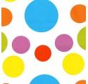 Papel de regalo blanco liso con círculos de varios colores