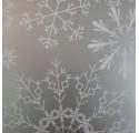 Papel de regalo plata liso con diseños de nieve