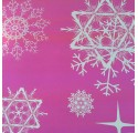 Papel de regalo púrpura brillante liso con diseños de nieve