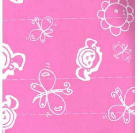 papel de embrulho liso rosa borboletas