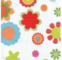 Papel de regalo blanco liso con flores de varios colores