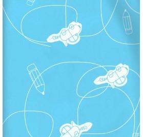 papel de embrulho liso azul bebe carros