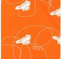 Papel de regalo naranja liso con carros y rayas
