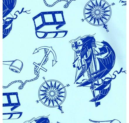 papel de embrulho liso azul bebe barco