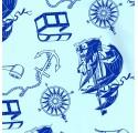 Papel de regalo azul claro liso con barcos