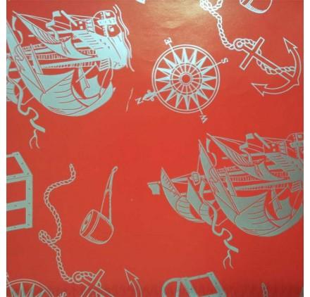 papel de embrulho liso vermelho barcos prata