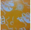 papel de embrulho liso laranja barcos