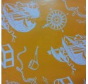 Papel de regalo naranja liso con barcos