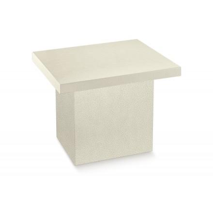 TAVOLO CONTENITORE pelle bianco 610x500x515