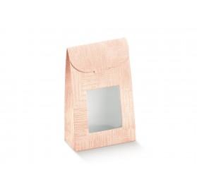 SACCHETTO c/finestra tela rosa 90x45x130
