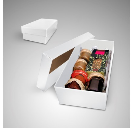 Large white color box Gourmet measures 350x190x105mm